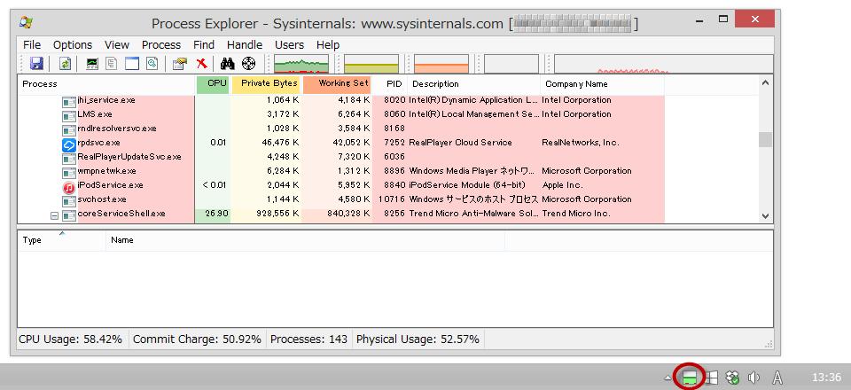 高機能タスクマネージャー「Process Explorer」