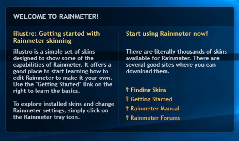 Rainmeter Welcome