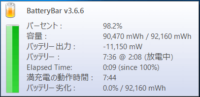 バッテリーの詳細情報項目